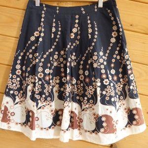 H&M Geometric Floral Pleated Knee Length Skirt